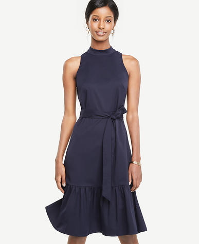 Mock Neck Belted Dress