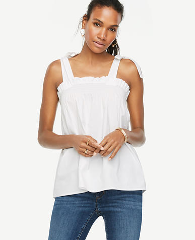 Image of Bow Shoulder Poplin Top