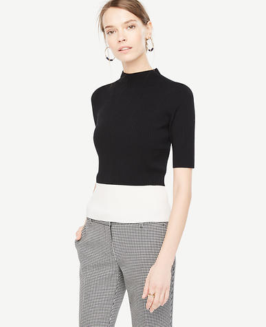 Image of Colorblock Ribbed Mock Neck Sweater