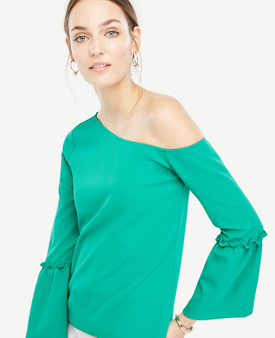Image of One Shoulder Flare Sleeve Top