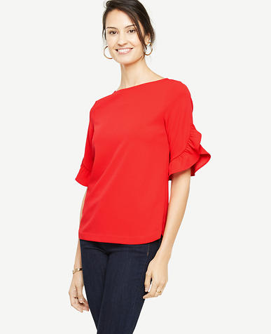 Ruffle Sleeve Boatneck Top