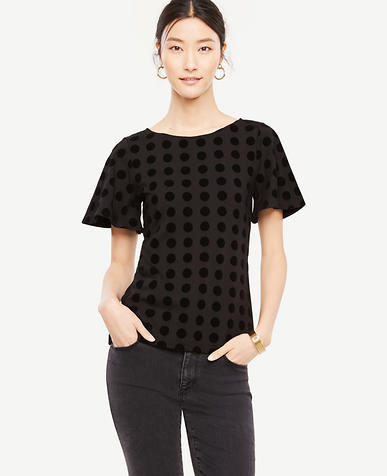 Velvet Dot Flutter Top