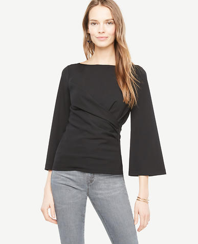 Draped Flare Sleeve Top