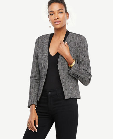 Image of Herringbone Peplum Jacket