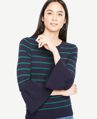 Image of Striped Flare Cuff Sweater