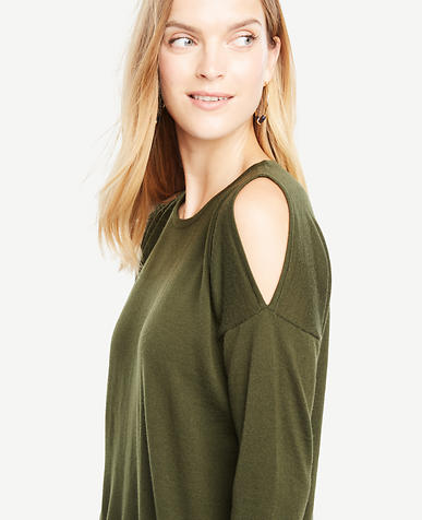 Extrafine Merino Wool Cold Shoulder Sweater