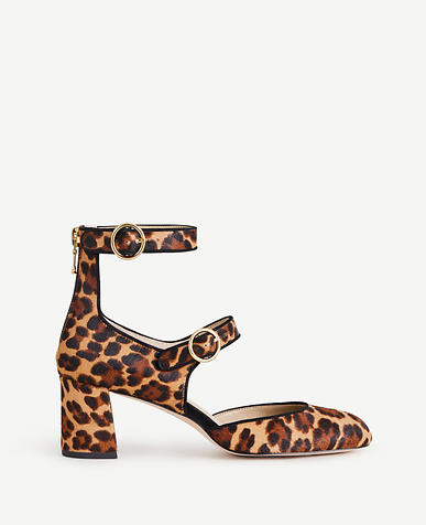 Arielle Leopard Print Haircalf Mary Jane Pumps
