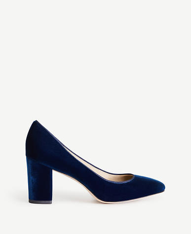Image of Emeline Velvet Block Heel Pumps