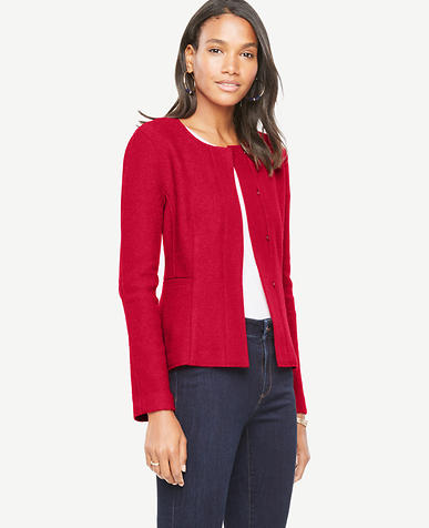 Boiled Wool Peplum Jacket
