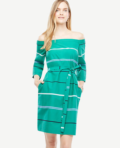 Image of Petite Off The Shoulder Striped Poplin Dress