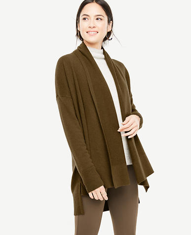 Cashmere Ribbed Open Cardigan