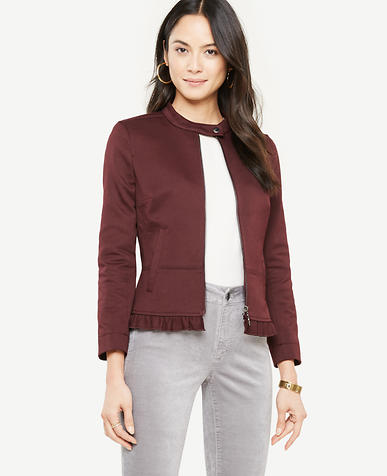 Image of Ruffle Twill Moto Jacket