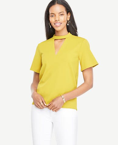 Image of Cutout Flutter Sleeve Top