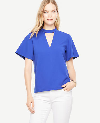 Cutout Flutter Sleeve Top