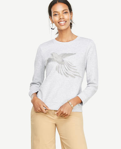 Embroidered Bird Sweatshirt