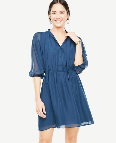 Petite Tie Neck Shirtdress