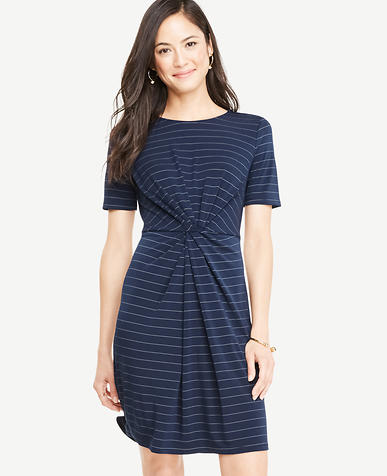 Image of Petite Pinstripe Knotted Tee Dress