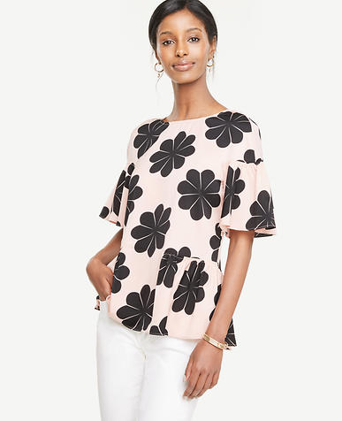 Image of Petite Floral Ruffle Mixed Media Tee