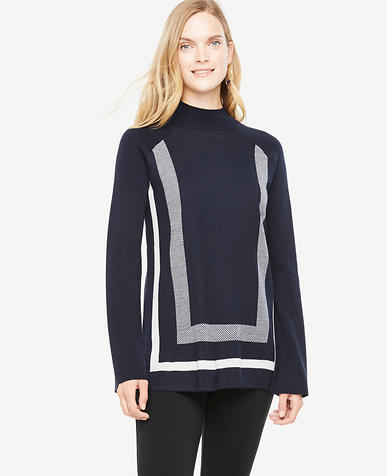 Image of Geo Extrafine Merino Wool Mock Neck Sweater