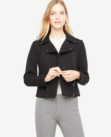 Tall Knit Twill Moto Jacket