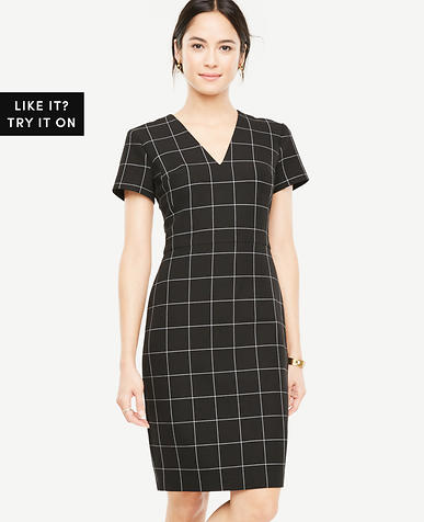Windowpane V-Neck Sheath Dress
