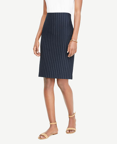 Petite Ponte Pinstripe Pencil Skirt