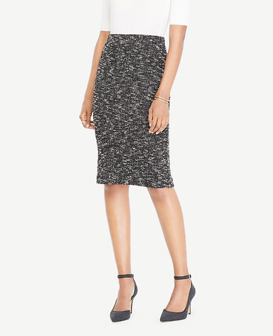 Petite Knit Tweed Pencil Skirt