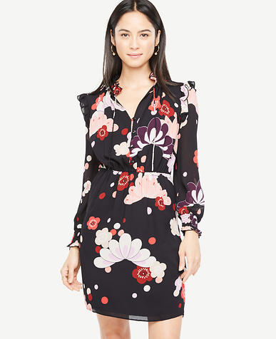 Petite Blooms Ruffle Shirtdress
