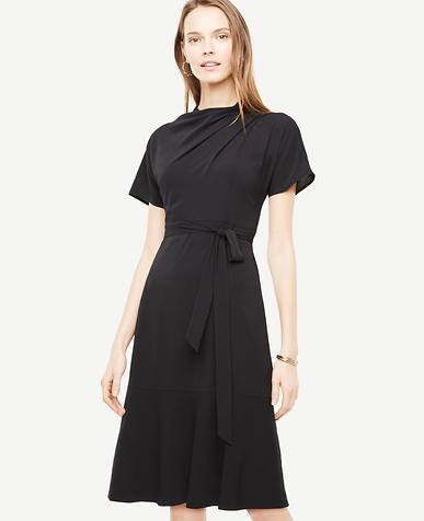 Petite Drape Neck Flare Dress