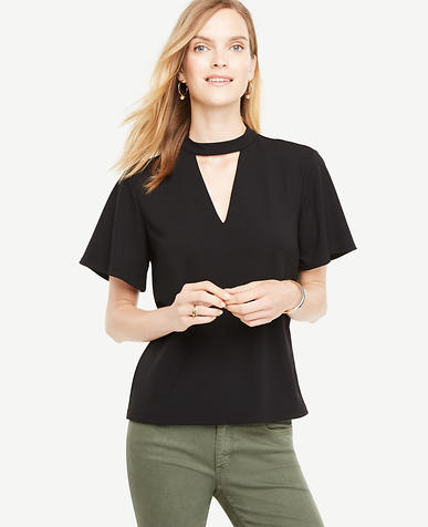 Image of Petite Cutout Flutter Sleeve Top