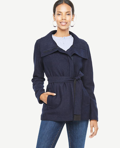 Petite Boiled Wool Funnel Jacket