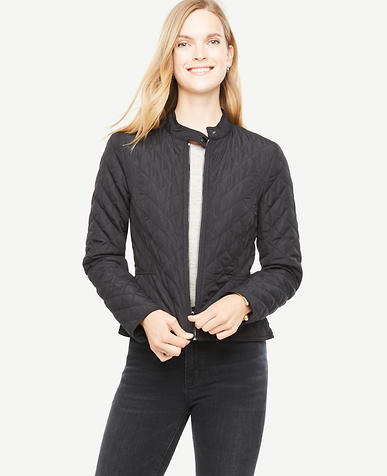 Petite Quilted Moto Bomber