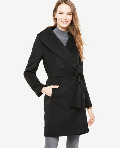 Petite Shawl Collar Wrap Coat