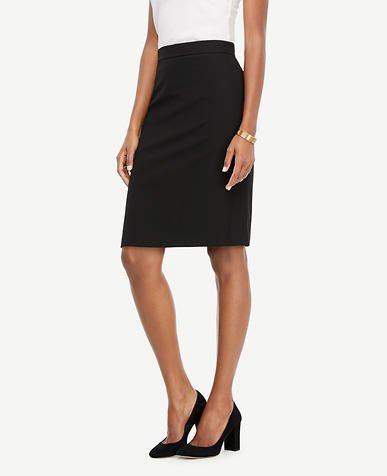Petite Seasonless Stretch Flounce Back Pencil Skirt
