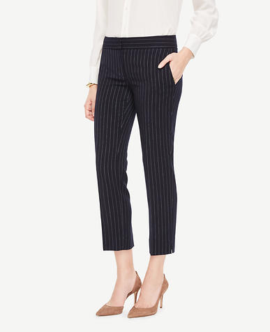 The Petite Ankle Pant In Pinstripe - Devin Fit