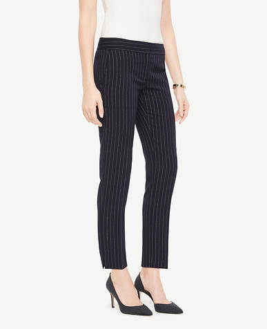 The Tall Ankle Pant In Pinstripe - Kate Fit