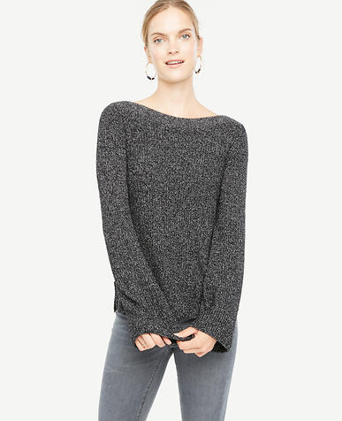 Fluted Sleeve Boatneck Sweater