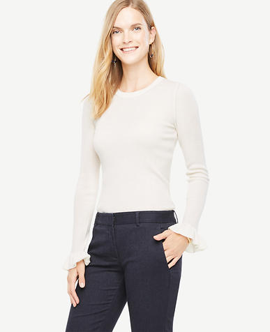Extrafine Merino Wool Ruffle Cuff Sweater
