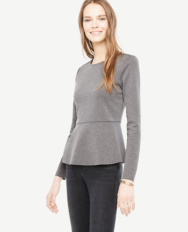 Petite Long Sleeve Peplum Top