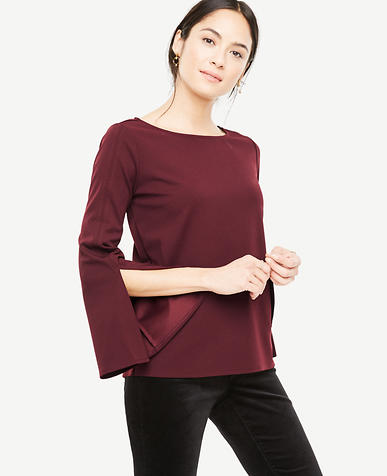 Petite Slit Sleeve Boatneck Top