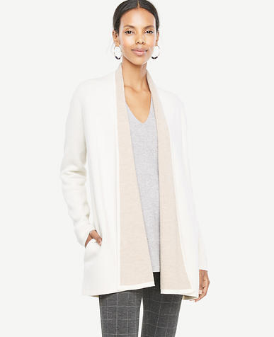 Petite Wool Cashmere Shawl Collar Coatigan