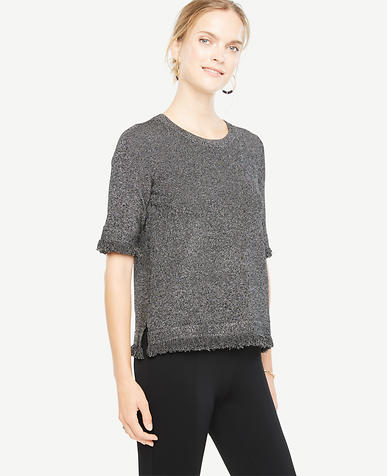 Image of Petite Fringe Trim Sweater