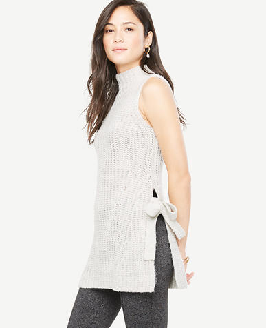 Image of Petite Sleeveless Side Tie Tunic Sweater