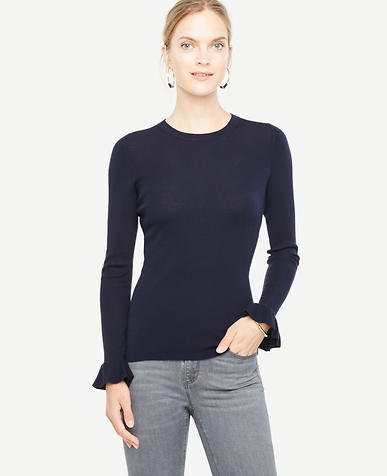 Image of Petite Extrafine Merino Wool Ruffle Cuff Sweater