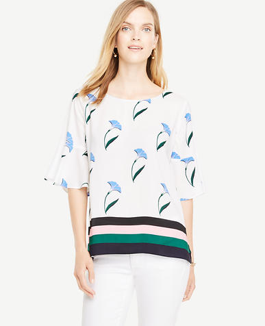 Image of Petite Border Floral Flounce Sleeve Top