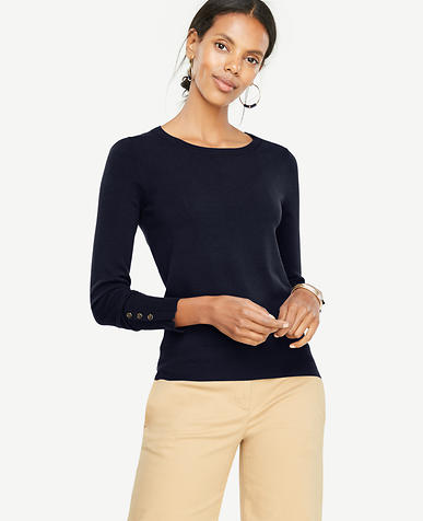 Petite Button Cuff Sweater