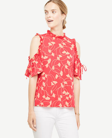 Image of Ginkgo Cold Shoulder Ruched Top