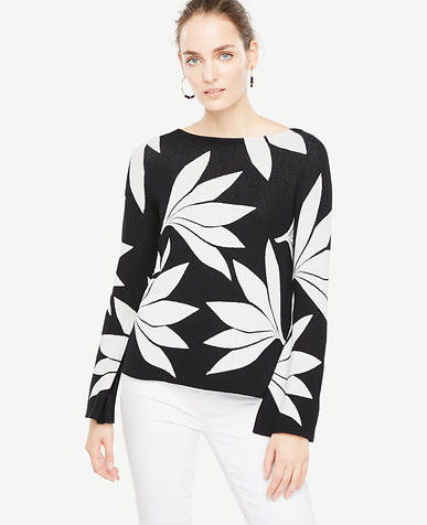 Image of Petite Fan Floral Bell Sleeve Sweater