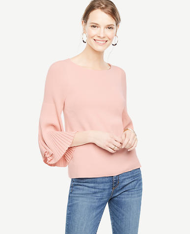 Petite Pleated Sleeve Sweater