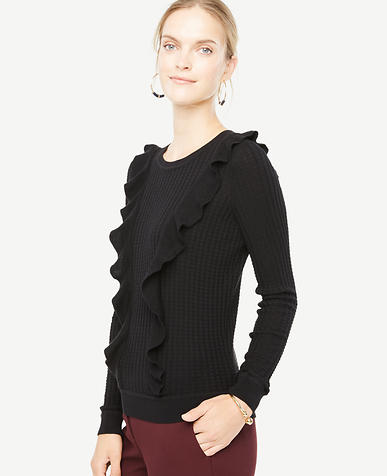 Image of Petite Diagonal Ruffle Sweater